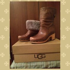 Host Pick 10/4  UGG Australia clog boots!!! Get ready for fall/winter with these warm and comfy ugg boots. Worn once. See pics for style name and authenticity card. Comes with box, stuffing and tissue paper. Small scratches on front of each shoe, see pics, not noticeable when worn. As these were only worn once and are in excellent condition price is firm, they go for 250 online. UGG Shoes