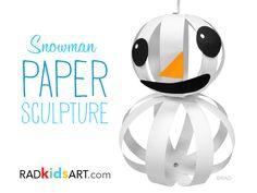 SnowMan Paper Sculpture © RADkidsart Art & Activity Book