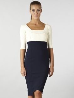 Hybrid Henley Contrast High Waisted Dress Cream with Navy