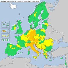 Meteoalarm - severe weather warnings for Europe - Valid for 25.02.2018