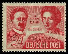 Karl Liebknecht und Rosa Luxemburg auf Briefmarke von 1949