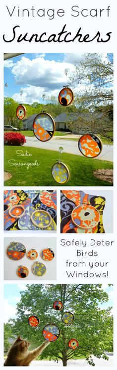 How to make simple, shatter-proof sun catcher or bird deterrent using a repurposed vintage scarf and embroidery hoop by Sadie Seasongoods / www.sadieseasongoods.com