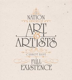 Typographic Poster #4 {A nation devoid of art & artists cannot have a full existence} // Quote by Ataturk / Design by Ozan Karakoç