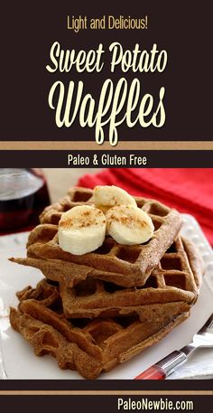 Sweet Potato Waffles Light weight, big flavor – try this new healthy waffle recipe! Super easy and so good!Light weight, big flavor – try this new healthy waffle recipe! Super easy and so good! Sweet Potato Waffles, Paleo Sweet Potato, Potato Pancakes, Paleo Breakfast, Breakfast Recipes, Breakfast Pastries, Waffle Iron Recipes, Whole Food Recipes, Cooking Recipes