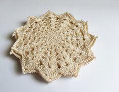 Set of 6 beautiful beige doilies crochet home by MKedraDecoupage, $26.00