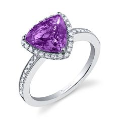 ♥ VIBRANT VIOLET ♥  February's #birthstone is the pretty purple #amethyst. Any #Sylvie design can be made with the beautiful and affordable gem. February babies, Repin to drop a birthday hint!