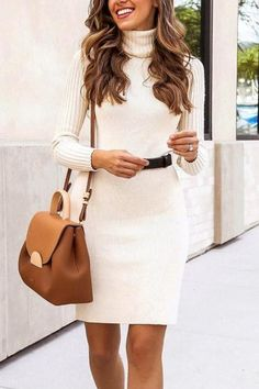Elegant Turtleneck Slim Flit Bodycon Mini Sweater Dress. Casual Dress  Outfits ... 518173541