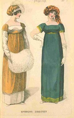 Fashions of London and Paris, Evening Dresses, March 1811. LOVE those turbans!