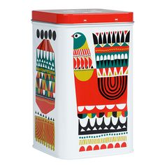 Marimekko Kukkuluuruu Large White/Green/Red Tin Conceal unwanted clutter with the Marimekko Kukkuluuruu Tin. From knick knacks at the office, to snacks in the kitchen and even toiletries in the bathroom, any space can benefit from a tin storage syst.