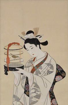 Beauty with Bird Cage.  ink and color on silk.  About 1930's, Japan.  Artist Kobayakawa Kiyoshi