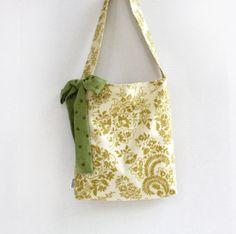 Floral Tote Bag Green Polka Dot Bow Purses Cotton Women Tote Bag Market Tote Sprig Tote Bag Brocade Floral on Etsy, $32.00