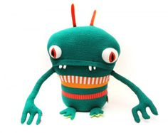 Upcycled cotton Monsters in fabric  with Upcycled monster Handmade cotton
