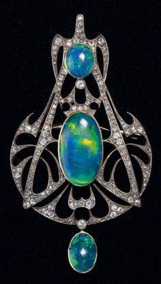 An Art Nouveau opal and diamond pendant, by Henri Vever, circa 1910. #Vever #ArtNouveau #pendant