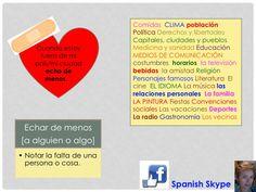 Echar de menos.   Facebook: Spanish Skype