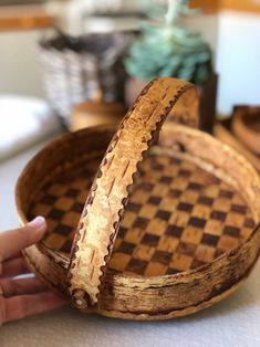 Excited to share this item from my shop: Checkered Swedish folk art woven birch tray bottle cabin decor birch basket weaving Scandinavian handmade folk art