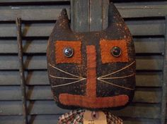 Primitive Handmade Halloween Cat MakeDo on by Sweetrainprimitives, $16.95