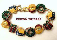 Vintage Crown Trifari Christmas Holiday Slide Bracelet