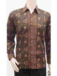 Ethnic Indonesia Men's Batik Sogan Series Long Sleeve Cotton