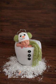 Newborn Baby Earmuff Snowman Christmas by PerfectlySweetItems, $35.00