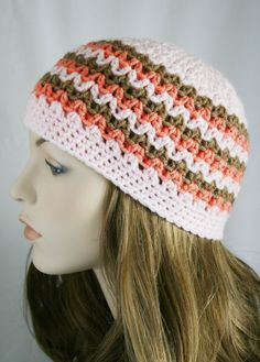 Skull Cap Fitted Beanie Womens Crochet Hat Spring Beanie Striped Hat Multi-Color Winter Hat Pink