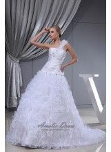 Major Suit One Shoulder With Flowers Ball Gown Ruched Pleats Beading Bridal Gown - Wedding Dresses