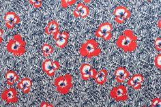 Japanese Fabric Pansie scribble  cotton lawn  blue by MissMatatabi