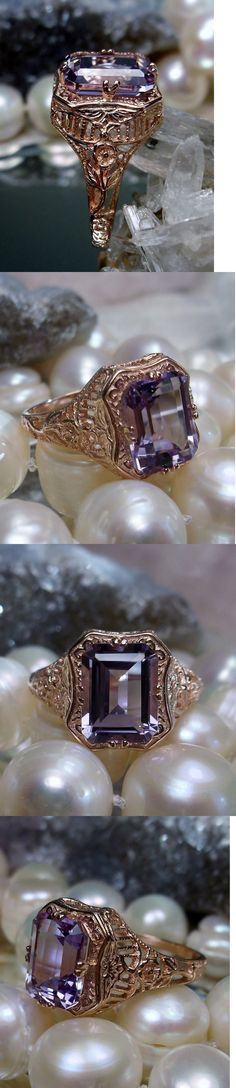 Rings 52603: 2.3Ct Purple Amethyst 10K Rose Gold Floral Filigree Ring Size: {Made To Order} -> BUY IT NOW ONLY: $249 on eBay!