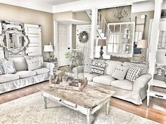 Farmhouse living room! IKEA Ektorp couches! IG @bless_this_nest
