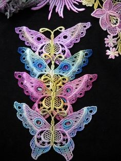 Butterfly Venise Lace Embellishment Hand Dyed by RavioleeDreams, $3.50    Colored Lace Applique