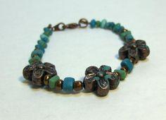 Blue and green floral bracelet