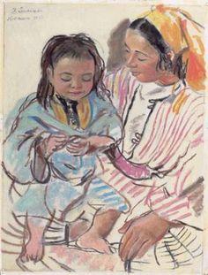 Mother and daughter - Zinaida Serebriakova 1928