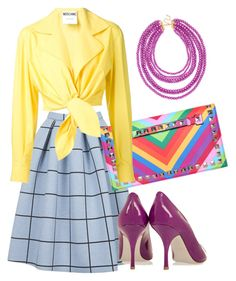 """""""Energy summer look"""" by imagemaker-mustafina ❤ liked on Polyvore featuring moda, Topshop, Moschino, Giuseppe Zanotti, BaubleBar, yellow, Pumps, lilac e check"""
