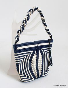 1940s navy & white telephone cord purse  ~ Raleigh Vintage ~