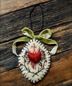 Needle Felted Embroidered Sacred Heart by MarysStudioAndWhimsy