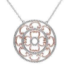 two tone classical diamond pendant sets - Google Search