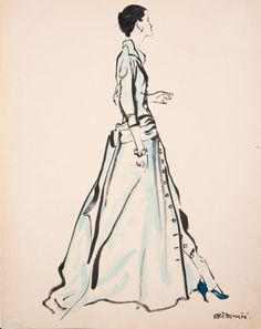 Illustration by René Bouché for Vogue, 1950