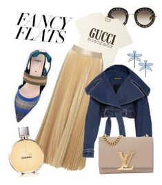 """blue 1"" by mayaprasopoulou on Polyvore featuring Fendi, Tory Burch, Gucci, Alice + Olivia, Louis Vuitton, Chanel and chicflats"