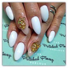 White nails and gold skulls ✨
