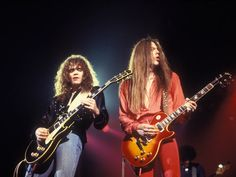 """Scott Gorham and Brian Robertson, the great """"twin guitar"""" sound behind Thin Lizzy buzzsaw pyrotechnics."""