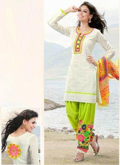 Buy Off White & Neon Green Cotton Salwar kameez @ 2457