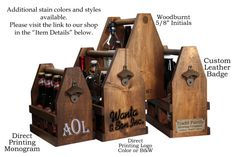 A Rustic Personalized Wooden 6 Pack Beer Carrier is perfect for homebrews, camping and craft beer. They are a great gift for men, women, groomsman, a best man, groom, father, boyfriend, or anyone!  This great Handcrafted Wooden Beer Caddy with a rustic bottle opener that can hold up to six 12oz bottles of beer and is perfect when you want to keep your beer safe from those evil paper boxes. We have also gone GREEN! We procure as much lumber as possible from local farmers to support the local…