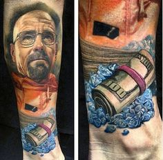 breaking bad tattoo.. wow, crazy talent! i want this guy to do my next tattoo.. i don't think i'm obsessed enough to get a walter white tattoo.. but it looks badass anyway