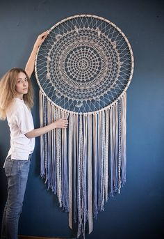This beautiful large crochet dream catcher wall hanging is a beautiful statement of the bohemian style. The crochet part of the dream catcher took about a week to make! This bohemian wall decor has a magnetic energy of a handmade item. It is made of croch Dorm Room Walls, Room Wall Decor, Nursery Decor, Bedroom Decor, Bedroom Wall, Grand Dream Catcher, Large Dream Catcher, Décor Boho, Modern Bohemian