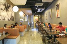 Red Table (Korean Fast Casual Restaurant Interior) love the tufted bench backs!