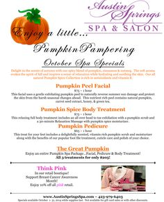 Carve out some time for yourself this month with our October specials! Hair And Beauty Salon, Beauty Skin, Spa Specials, Salon Services, Pumpkin Spice, Pedicure, Salons, Reflection, Massage