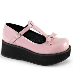 Demonia Pink T-strap Bow Platforms – The Atomic Boutique
