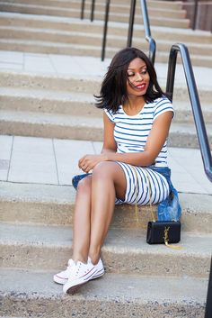 d6a11652a27 Weekend style in striped jersey dress