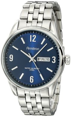 Armitron Men's 20/5049NVSV Day/Date Function Navy Blue Dial Stainless Steel Watch ** Click image for more details.
