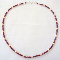 """Red White Blue  Necklace Faceted Crystals Freshwater Pearls Red Coral Beads 22""""  #BullockDorchesterBeadedJewelry #Beaded"""
