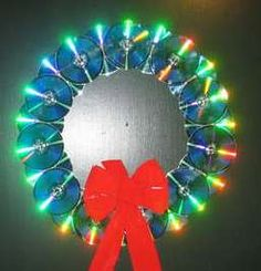 CD wreath  - piece of thick cardboard cut out as a circle  -two rows of discs mounted to it shiny side out  -(optional) push mini lights through cardboard